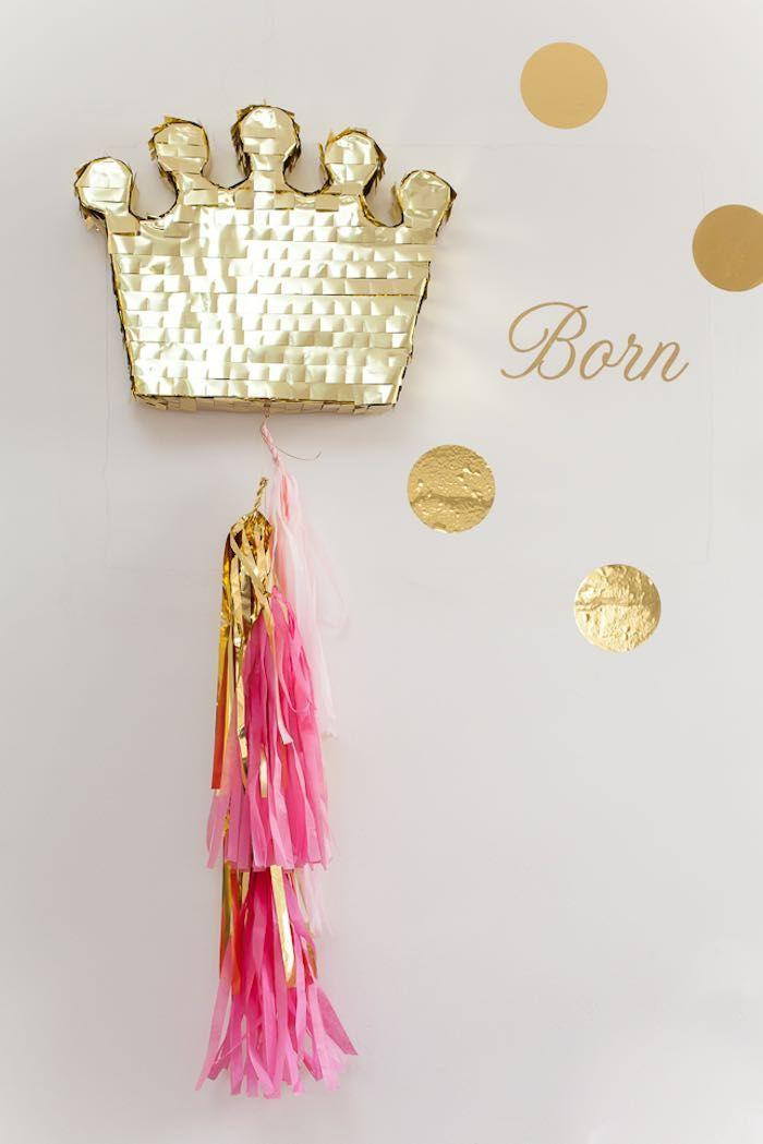 Love this piñata at a Pink & Gold Princess Birthday Party via Kara's Party…