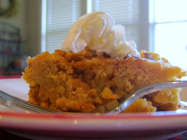 It's snowing outside, but all is well. Mom's Pumpkin Crunch is in the oven and the house smells wonderful! What a great recipe for a snowy day. Or a sunny day, for that matter! From RecipesforRealPeople.com.