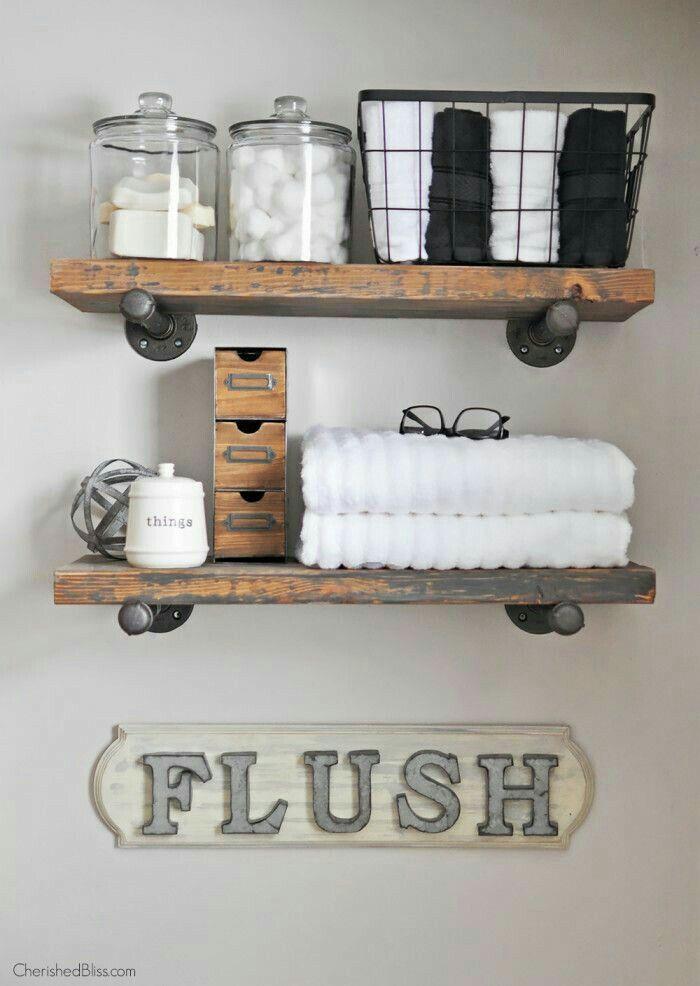 diy shelf ideas for bathroom%0A DIY flush sign and shelving
