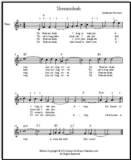 Shenandoah For Voice Or Guitar, With Free Lead Sheets And