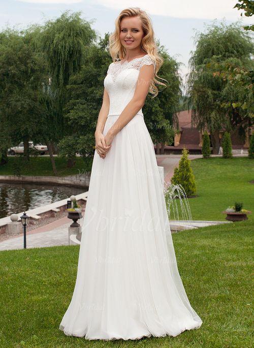 Bröllopsklänningar - $130.24 - A-linjeformat Off-shoulder Ringning Sweep släp Chiffong Spetsar Bröllopsklänning med Pärlbrodering (0025059542)