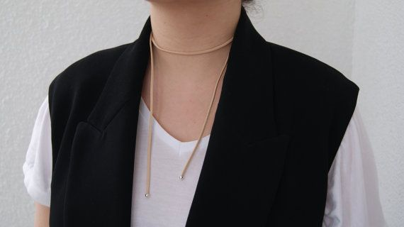 Neck wrap genuine leather nude choker, Plain Suede Choker, Neckwear, Women Accessories, Handmade, 90's style, Necklace, Bolo neck tie, Boho