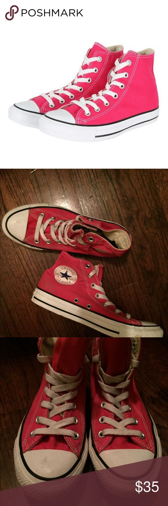 Pink High Top Converse Sneakers Pink High Top Converse Sneakers Size Women's 7 Barely used, GREAT condition Cute versatile shoe that can be worn everyday for a pop of color Converse Shoes Sneakers