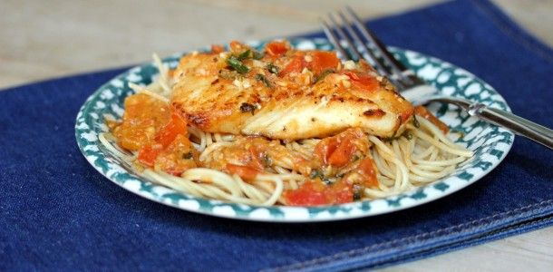 Seared Halibut with Fresh Tomato Basil Sauce