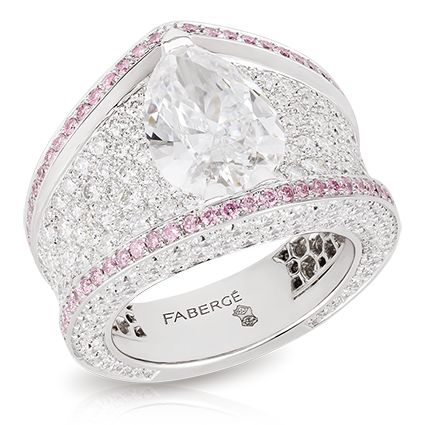 Sarafan Diamond Ring - Les Saisons Russes - Fabergé. This piece is set in 18 carat white gold and features 364 white and pink diamonds totalling 3.74 carats. The centre stone is a pear-shaped D VS2 white diamond of 3.02 carats.