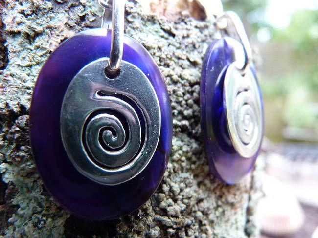 925 Silver Dyed Purple Paua Shell Earrings