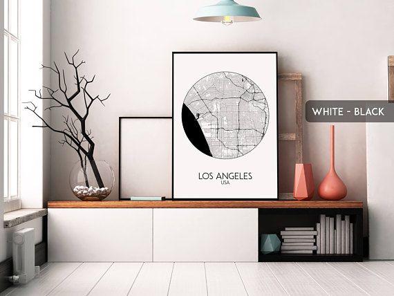 LOS ANGELES cirlce map print Los Angeles poster Los Angeles