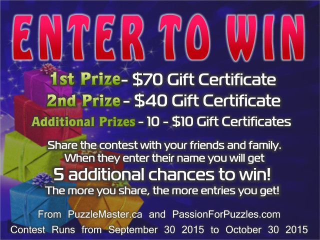 Win $210 in prizes when you enter your name and email at passionforpuzzles.com.  {URL}