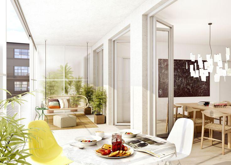 Oscar Properties : HG7 http://www.oscarproperties.com/ #oscarproperties  living room, sofa, interior, factory, architecture, stockholm, design, orangeri, balcony #orangeriet
