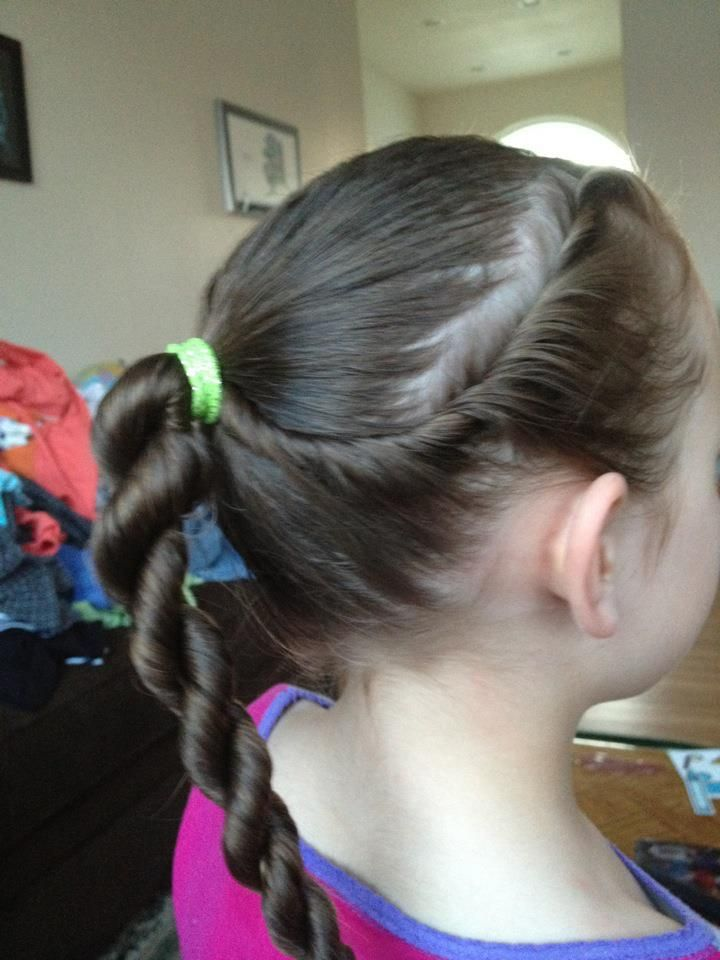 I learned this and several others due to the fact I just plain got tired of pony tails for my daughters.  Easy, twisty hair style for long hair.