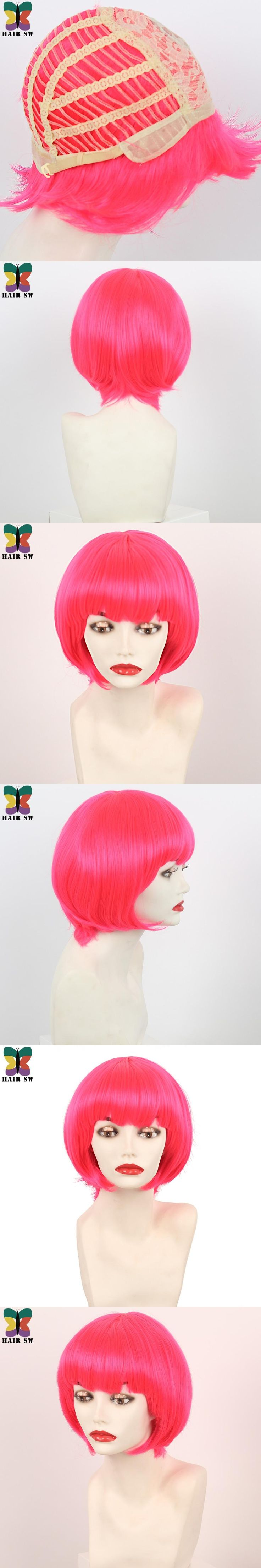 Short Hot Pink Bobs Wig Synthetic Cosplay With Bangs Halloween Wig Candy Girl For Party Bonbons!!!High Temperature Fiber HAIR SW