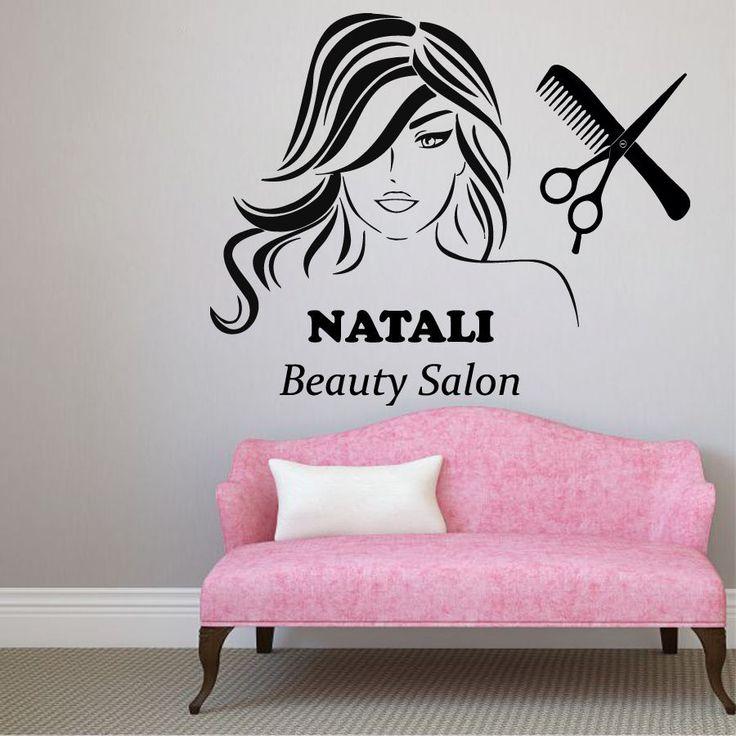 Wall Decals Girl Custom Name Hair Beauty Salon Vinyl Sticker Comb Decor KG911