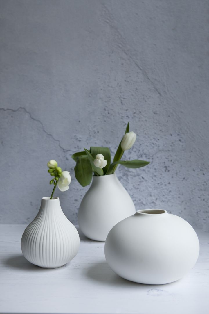 Scandinavian Designed Ceramic Bud Vases Crisp White Ceramics In Contemporary Shapes Style A Few Together With Some Si Vase Gustavian Decor Hand Built Pottery