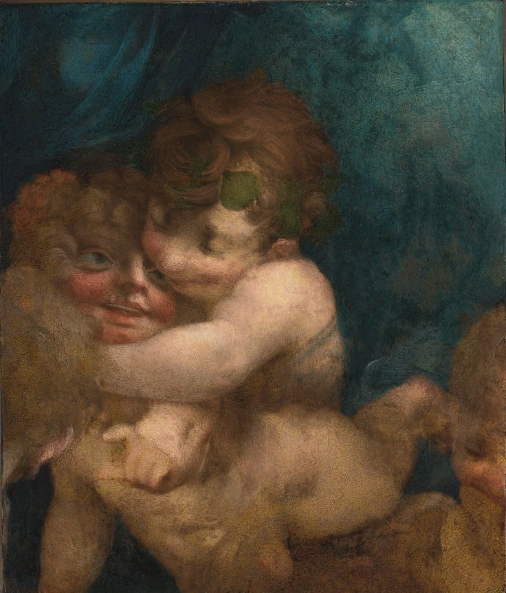 GIOVANNI BATTISTA DI JACOPO ROSSO, CALLED ROSSO FIORENTINO (FLORENCE 1494 - 1540 FONTAINEBLEAU).  PUTTI EMBRACING, oil on panel, a fragment, 15 1/8  by 12 7/8  in.; 38.5 by 32.6 cm.