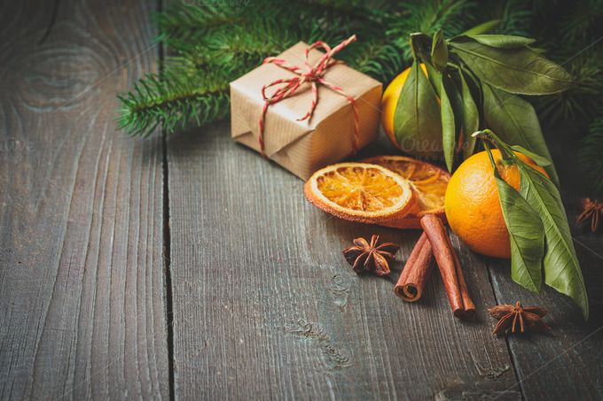 Christmas decoration with gift box and mandarines by Irrin0215 on @creativemarket