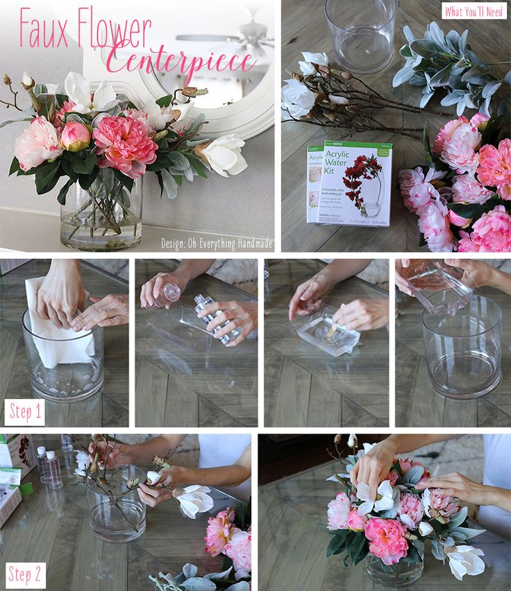 What You'll Need: Create a lasting centerpiece with Liquid Illusion - Simulated Water Resin.  Choose your favorite silk flowers from Afloral.com or use the silk