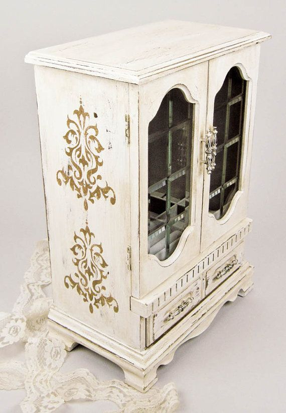 Shabby Chic Jewelry Box Hand Painted in Aged by olliesfinethings, $44.00