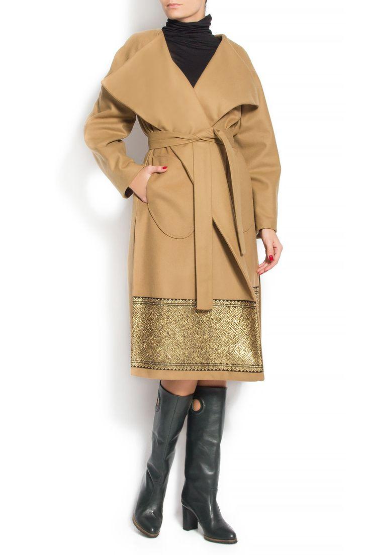 Izabela Mandoiu | Palton din lana cu imprimeu traditional | WE LOVE COUTURE