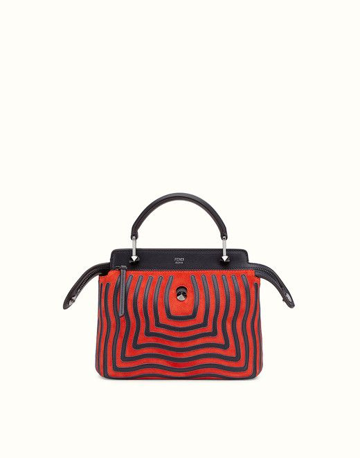 DOTCOM CLICK - Small red suede and leather handbag. Discover the new collections on Fendi official website. Ref: 8BN299S3DF04HN