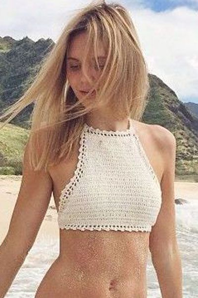 White Halter Crotchet Bustier Crop Top