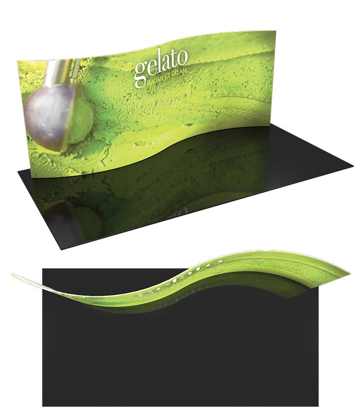 """Formulate 20 WSC1 -  20' serpentine curve backwall, frame includes 2 OCL cases, 226.5""""w x 92""""h x 32""""d. #Trade#show #Displays #Backwall. Call us today for a quote. 1-866-7ULTIMA (1-866-785-8462)."""