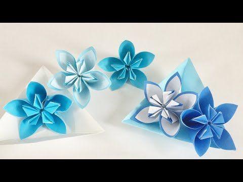 【折り紙】くす玉フラワー2種類 Origami flower - YouTube