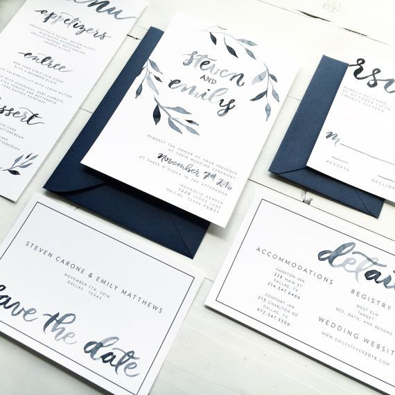 Watercolor Brush Lettering Wedding Invitation Set || Modern Wedding Invites || Minimal Wedding || Sample || Printable on Etsy, $30.00