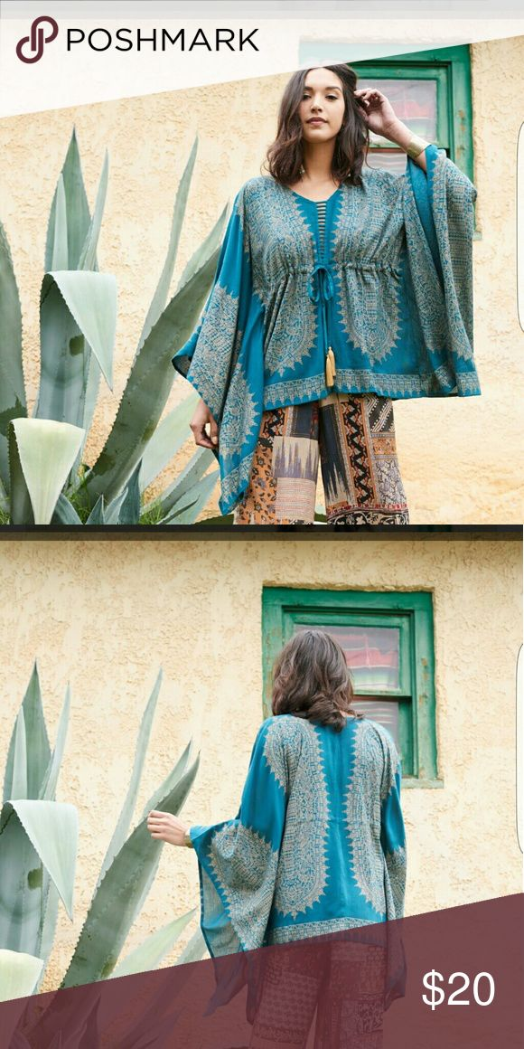Drawstring poncho Super cool teal with gold poncho/dashiki style top. Worn once. I have a problem?? Earthbound trading company  Tops Tunics
