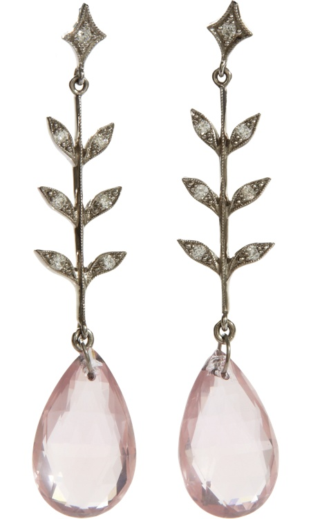 Cathy Waterman Diamond Leaf & Rose Quartz Wheat Earrings
