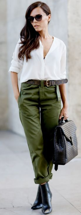 Stylerhoine Black Booties Cargo Pants White Blouse Fall Inspo