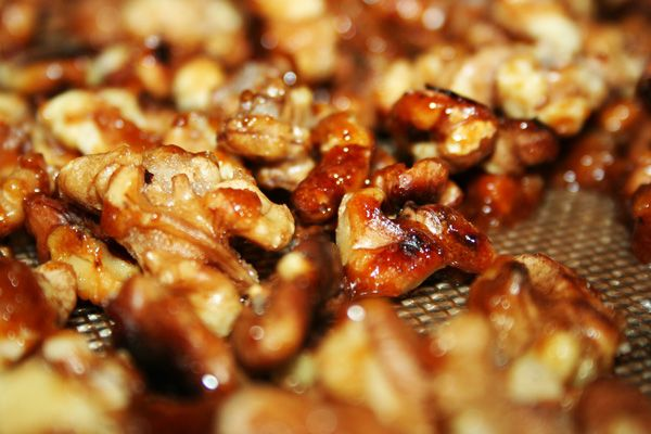 dish candied candied fruits candied walnuts toasted pecans walnuts ...