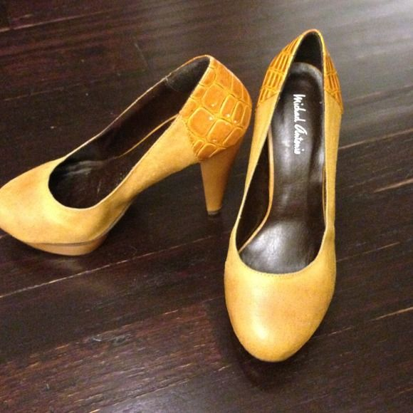 Mustard shoes Worn once light scratches pictures in last pic please ask questions, not noticeable when being worn. Michael Antonio  Shoes