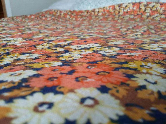 Retro Floral Duvet Cover // Mod Twin Comforter Cover // Orange