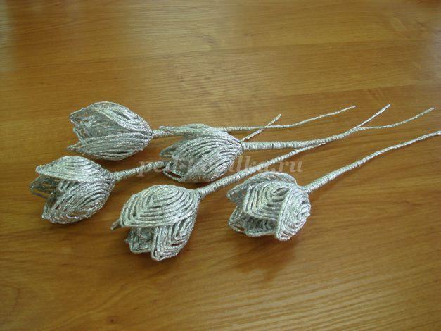 Плетение из фольги. Мастер-класс «Тюльпаны»