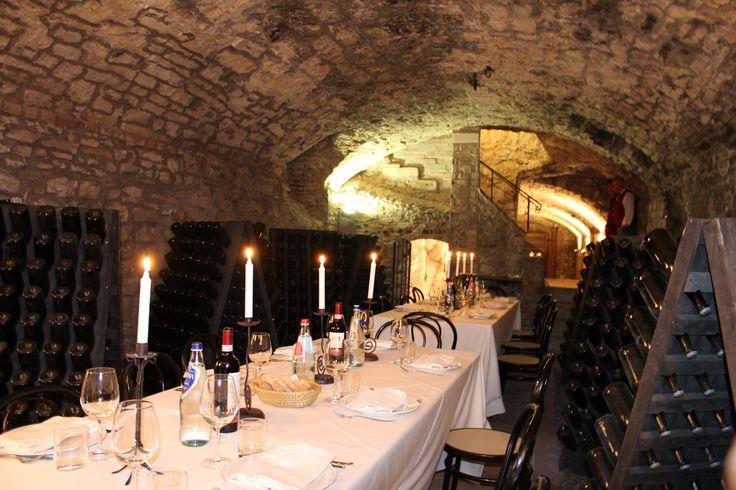 dinner in the cellar of Castello di Meleto