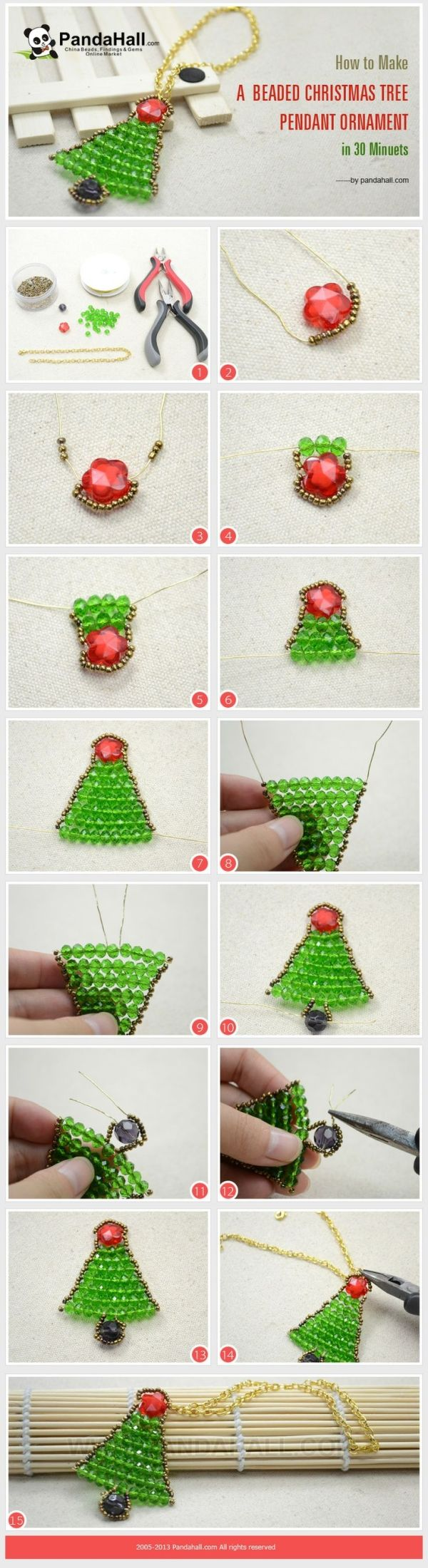 How to Make a Beaded Christmas Tree Pendant ...   Jewelry Making Tuto�� by wanting