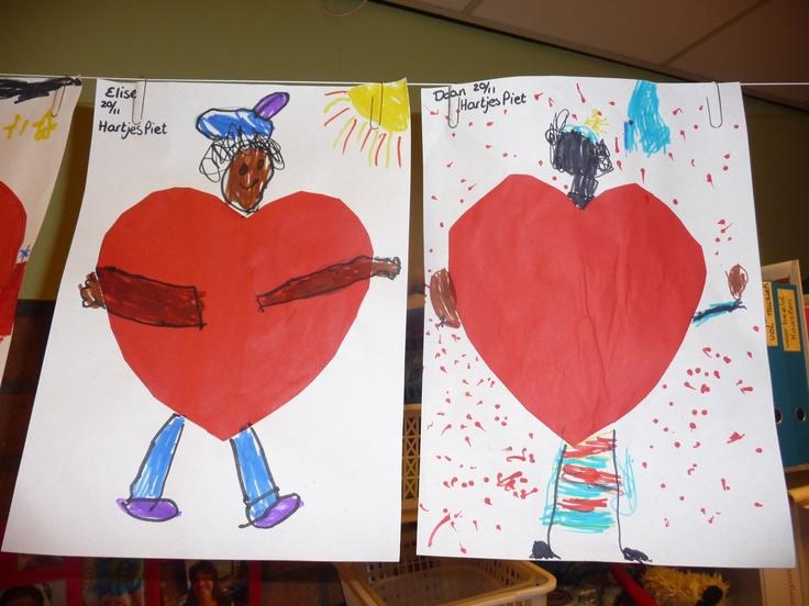 MAP : thema: verliefde Piet. De kinderen knippen het hart uit en gebruiken dat om een Piet te tekenen. Als achtergrond kunnen ze de Sinterklaasmunten tekenen.