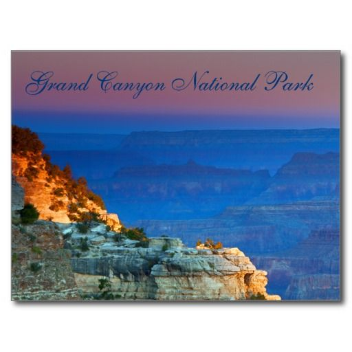 Sunrise Grand Canyon South Mather Point Souvenir Postcard This postcard features nature landscape travel photography of a beautiful blue & pink sunrise in the canyon at Mather Point on the South Rim in Arizona . Enhance your card collection, home or office decor with this postcard.