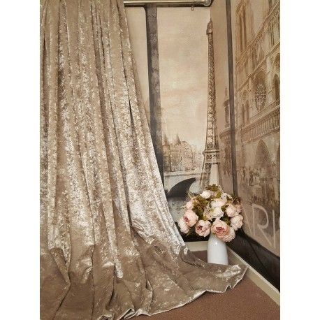 """Spectacular Huge Near Heavy Weight Classic Crushed Velvet Champagne Gold Colour Weighted Blackout/Thermal Lined Curtains 111"""" L x 76"""" W 40 mm Eyelets Dress Large Bay Window The Quality Of fabric Is Outstanding ......... Look Breathtaking This lovely fabric is a regular line available in Silver and Mink colours and I can offer a bespoke service"""
