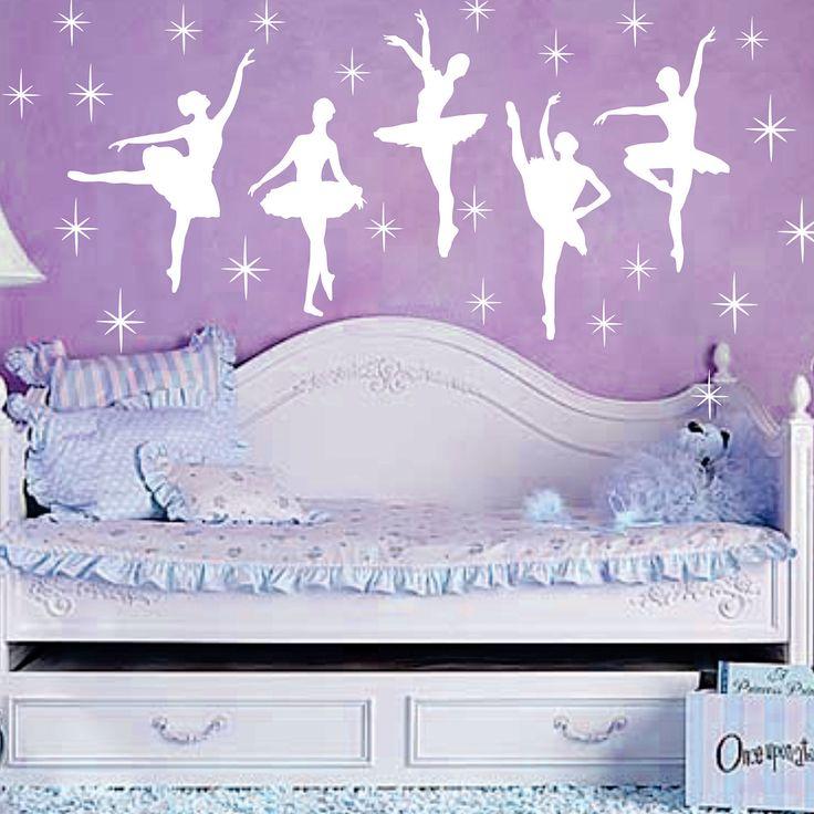 Ballet Dance Ballerinas Stars Custom Vinyl Wall Decals Saying Quote Art Stickers Nursery Kids Girls. $20.99, via Etsy.