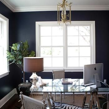 Navy Blue Office, Transitional, den/library/office, Tiffany Jones layered rugInterior Design