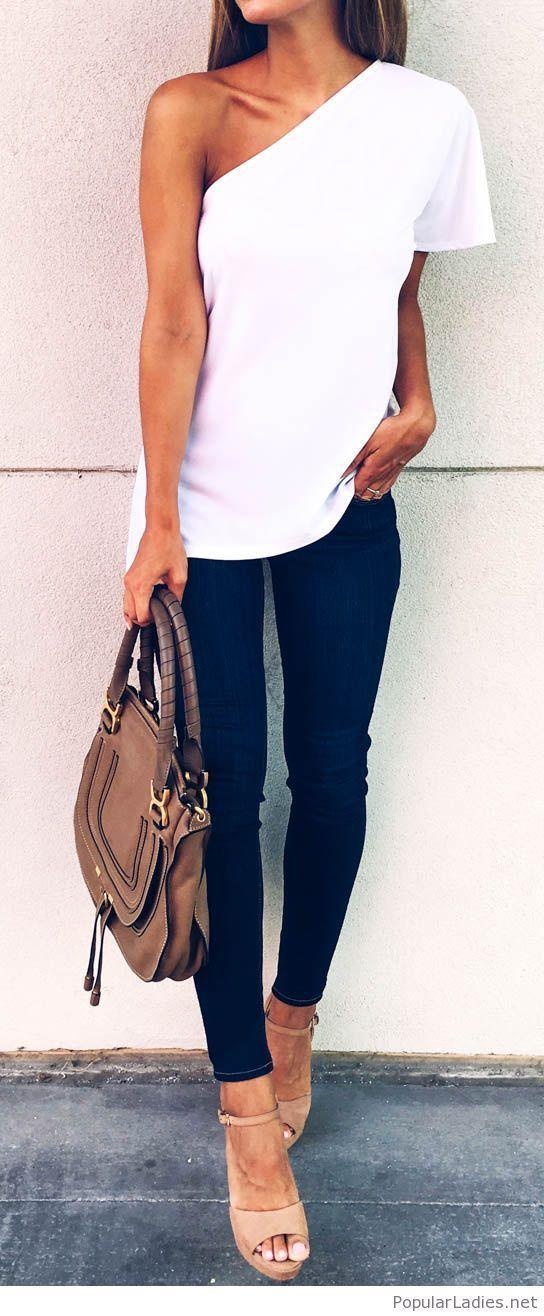 Dark jeans and white top design