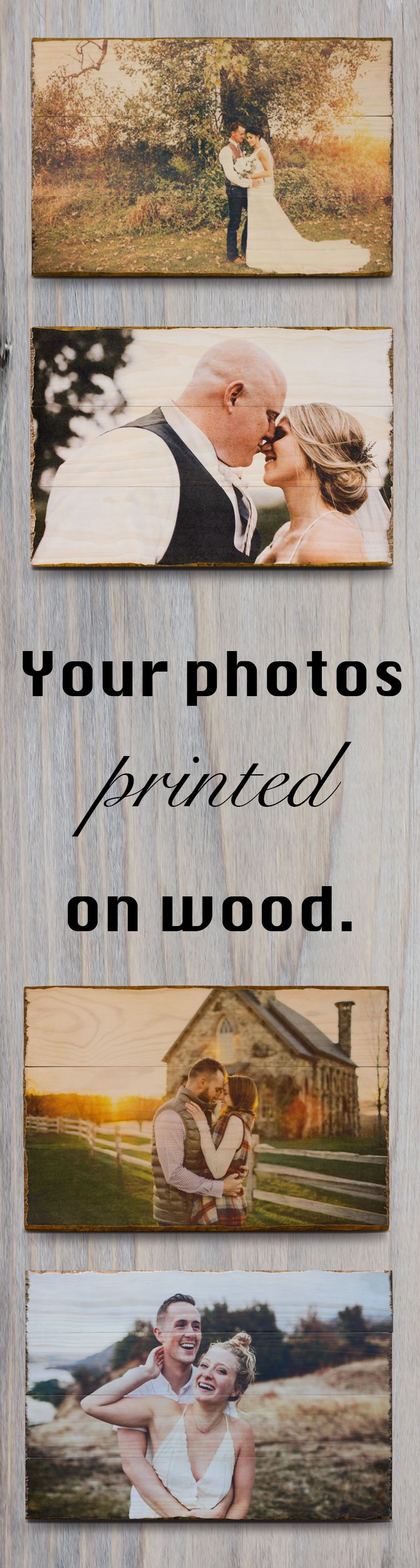 We print your photos on wood. Our custom woodprints are made up of multiple planks of rustic wood and come ready to hang on your wall. Every woodprint is coated with a protective layer of matte finish to ensure that they are both scratch and water resistant. Unlike many companies who print on plywood, we have chosen to use solid planks of Radiata Pine imported from New Zealand.  Every woodprint is hand-crafted, making each piece incredibly unique.