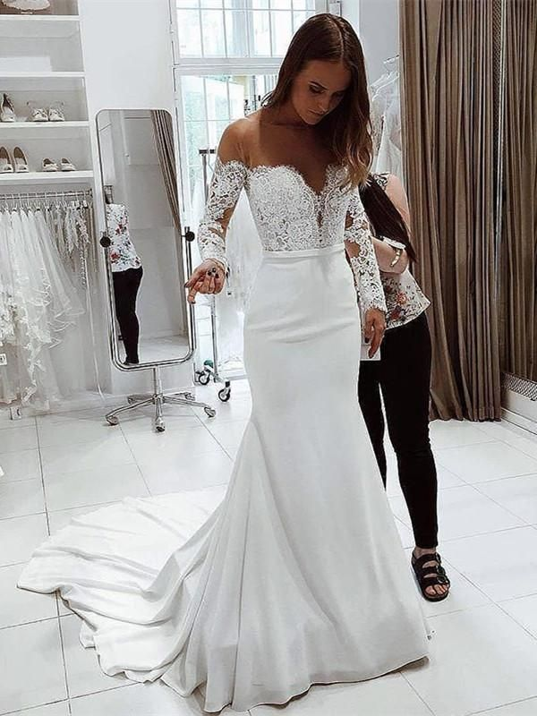 Mermaid Off Shoulder Long Sleeves Lace Top Wedding Dresses Wd0417 In 2020 Lace Top Wedding White Lace Wedding Dress Lace Top Wedding Dress