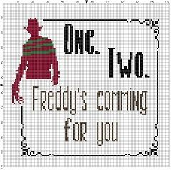 One Two Freddy's Coming for you - Nightmare on Elm Street Halloween Cross Stitch…