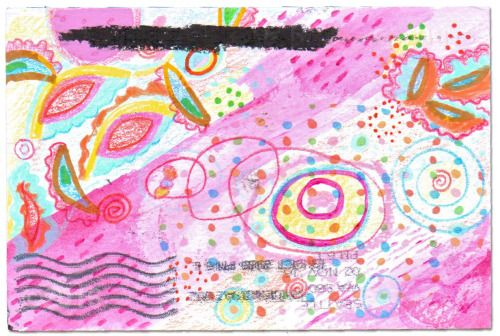 A nice follow-up piece of pink mail art from Cherie Hacker who participated in this year's Pink Mail Art Show.