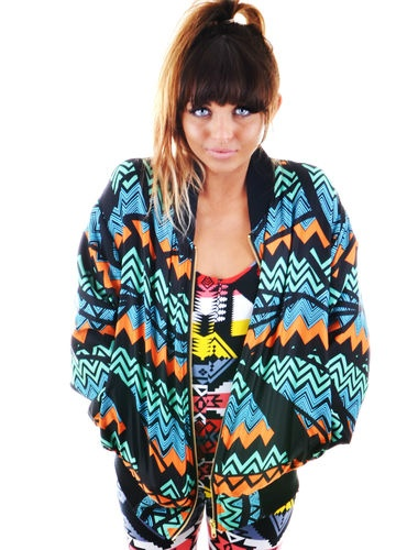 Rowen Falls Mountain Aztec Tribal 80s Retro Inspired Zigzag Print Bomber Jacket | eBay