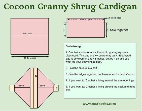 cocoon granny shrug cardigan kofta pattern diagram crochet: