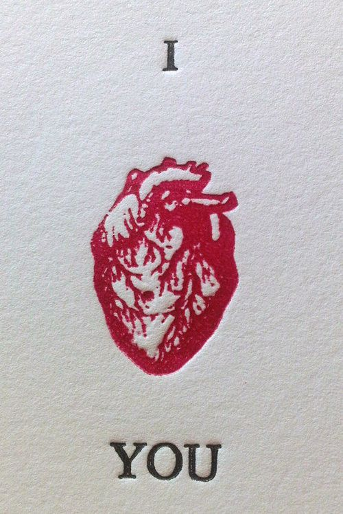 Detail from I (Anatomical) Heart You  hand-printed Valentine's Day or Anniversary letterpress card, by chrystalvaughan.