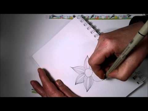Tangled Flower Tutorial - Zentangle Inspired, Doodle, Tangle Patterns - YouTube